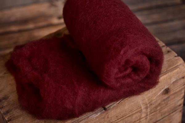 Manta de lana natural rojo burdeos