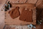 Brown mohair set with ears