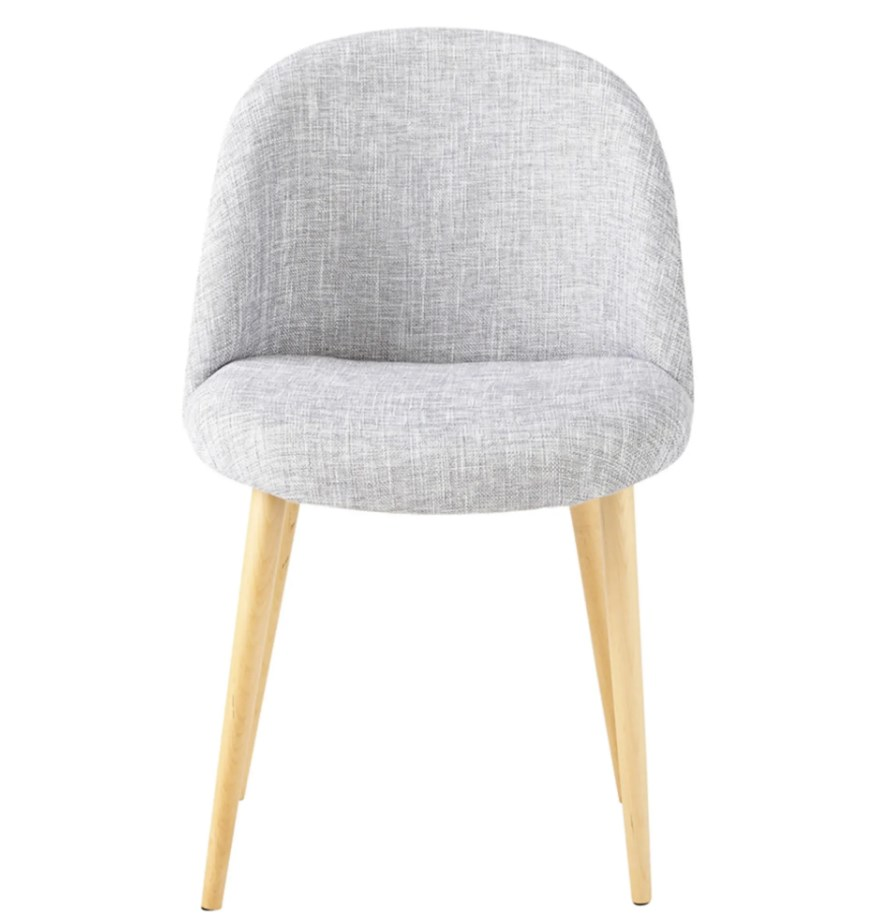 Chaise vintage gris clair chiné et bouleau