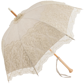 Anais - Exclusive UVP Beige Parasol with Tulle Illusion Lace by Pierre Vaux