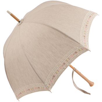 Juliette - UVP Beige Parasol with Embroidered Lace by Pierre Vaux